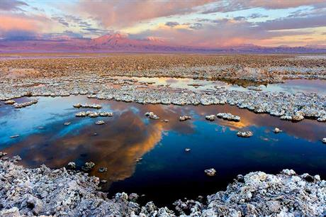 Atacama Salar… The salt flat in Northern Chile (right) is home to the world's highest grade lithium-brine deposit (pic: Francesco-Mocellin)