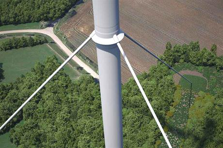 Tied down… Vestas recently revealed a new tower design for low-wind sites using a concept adapted from bridge building to spread increased load