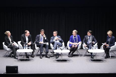 Talking money: Liv Lønnum, Alfred Hoffmann, Alessandro Izzo, Ed Northam, Mary Quaney, Stéphane Dubos and Christina Sørensen (from left)