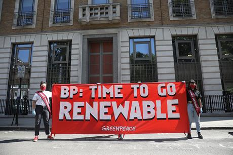 Socially distanced… Greenpeace protest outside BP's AGM