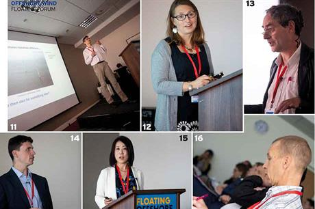 11 Maurizio Collu, Cranfield University; 12 Claire du Colombier, responsible for Engie's floating offshore wind industrial plan; 1 3 Pascal Heisel, R&D director and semi-submersible floater designer, Ceteal; 14 Gavin Smart, ORE Catapult; 15 Fumiyo Ha
