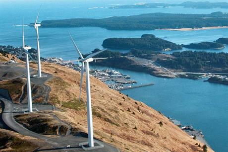 Closed system… Pillar Mountain wind farm on Kodiak Island, Alaska, has three 1.5MW turbines integrated with hydro energy and battery storage (pic: NGK Insulators)