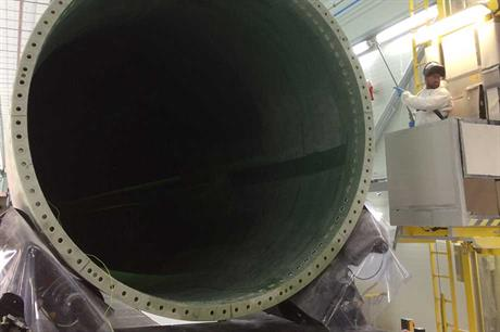 A blade being painted at the UK facility
