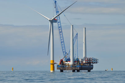 A turbine being installed at Greater Gabbard