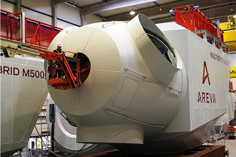 Areva manufactures solely offshore turbines