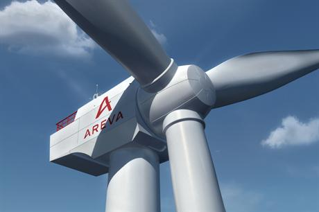 A digital impression of Areva's 8MW turbine