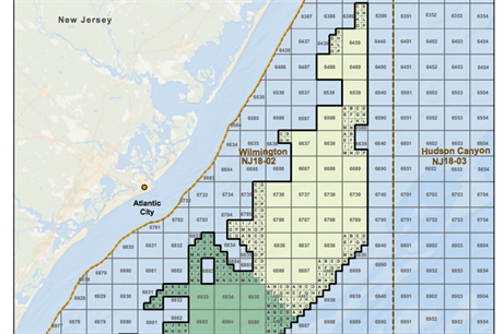 The Atlantic Shores Offshore Wind JV will develop an offshore wind lease (yellow) located 12km off the New Jersey coast
