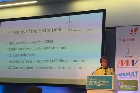 Baroness Brown speaking at RenewableUK's Global Offshore Wind 2018 conference in Manchester