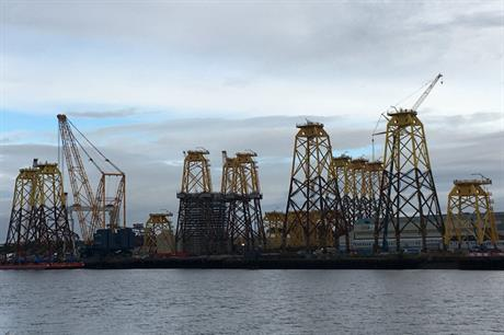 Jacket structures destined for the Beatrice Offshore Wind project