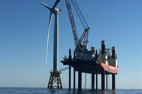 The first offshore project in the US, Deepwater Wind's 30MW Block Island site, under construction in 2016 (pic: Jeff Grybowski)
