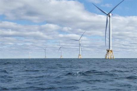 The US's only operational offshore wind farm, Block Island off the coast of Rhode Island (pic: AWEA)