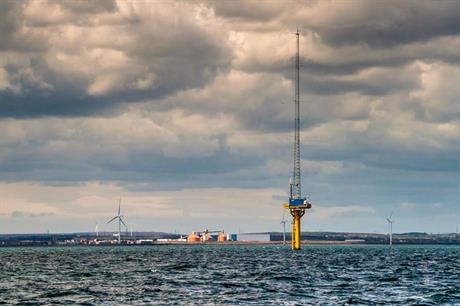 The 99.9MW offshore demonstration wind site in Blyth, Northumberland, with Narec's offshore anemometry platform in the foreground