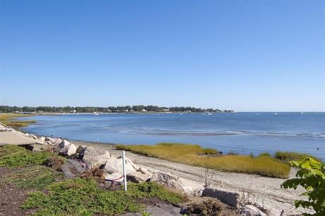 A view of the coastline from Fort Trumbull Beach in Milford, Connecticut