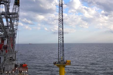 Weather monitoring masts installed for East Anglia offshore wind zone (credit East Anglia Offshore Wind)