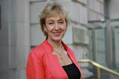 Andrea Leadsom arrives at the Department of Energy and Climate Change