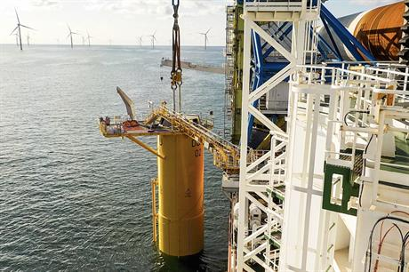 The first foundation was installed at Deutsche Bucht in early September (pic credit: Northland Deutsche Bucht)