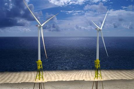 Artist's rendering of Dominion's proposed 12 MW offshore wind facility