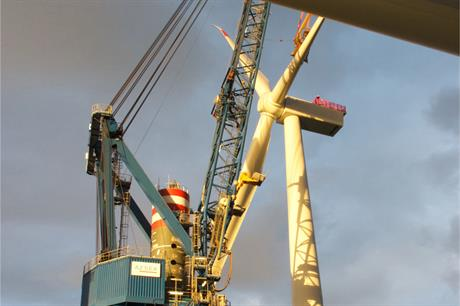 The first turbine has been installed at Dong's 312MW Borkum Riffgrund 1