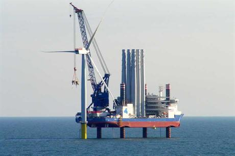 The Sea Installer works on the first West of Duddon Sands turbine