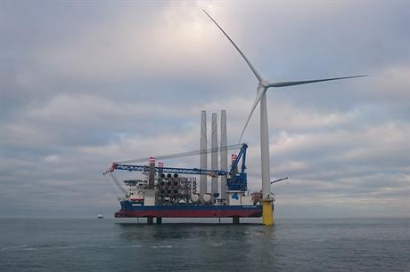 The first Siemens 6MW turbine at the 402MW Dudgeon offshore wind project (pic: Statoil, Byron Price, Rix Leopard)
