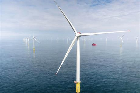 The 402MW Dudgeon project (above) was the joint largest offshore wind farm installed last year