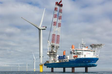 An MHI Vestas V164 turbine installed in the UK's North Sea