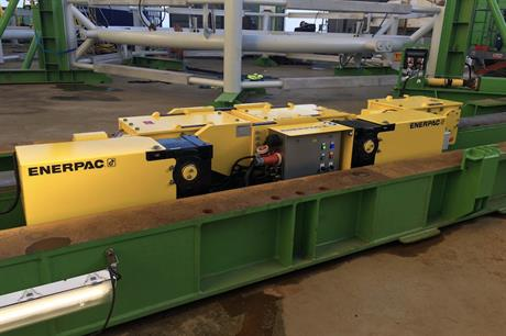 Enerpac claims its trolley system minimises the time spent in port during foundation load-out