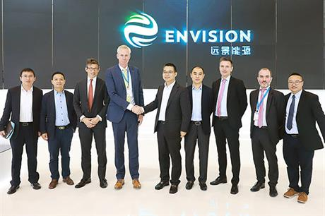 Envision CEO Zhang Lei (fifth from left) and LM Wind Power CEO Marc de Jong, (fourth from left) mark the announcement  at China Windpower 2017 in Beijing