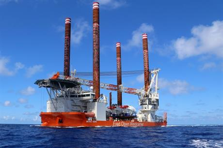 Fred Olsen Windcarrier's Brave Tern jack-up vessel installed the US's first offshore turbines