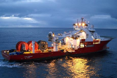 Fugro's Symphony vessel (above) was transferred to Global Marine Holdings alongside other marine cable laying and trenching assets