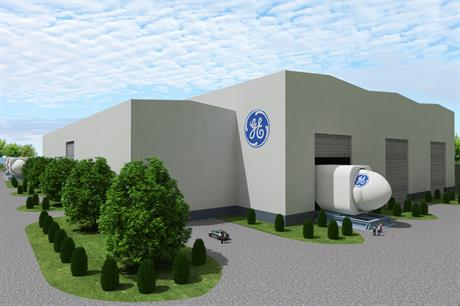An artist's impression of GE's offshore wind factory in Guangdong, China
