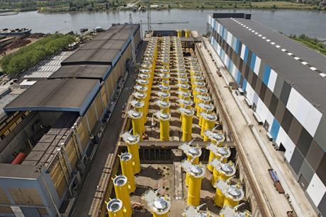 Transition pieces for the 600MW Gemini project wait to be installed (Koolen Photography)