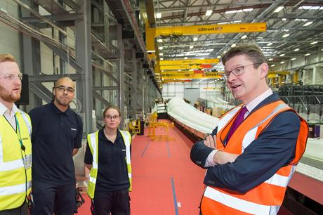 BEIS minister Greg Clark (right) on a tour of Siemens' factory in Hull