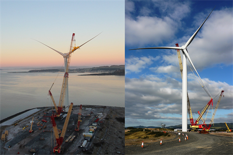 Mitsubishi's 7MW SeaAngel (left) and Siemens Gamesa's 6MW prototype wind turbines operate at Hunterston (pics: Mitsubishi / Siemens)