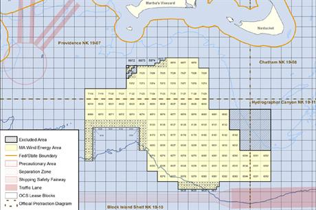 The lease area is south of Nantucket Sound