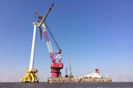 The turbine is installed at Longyuan's Rudong intertidal wind project