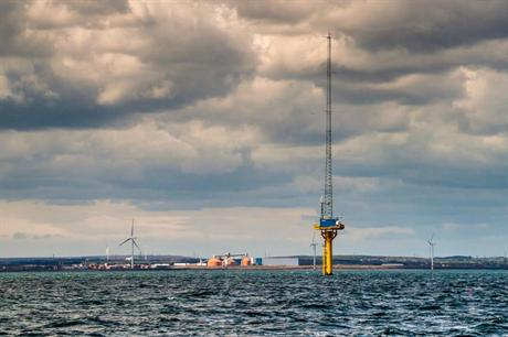 Narec's offshore anemometry platform at the demonstration wind site in Blyth