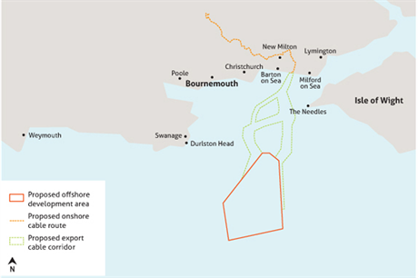 Map of the area selected for development of the 1.1GW offshore project