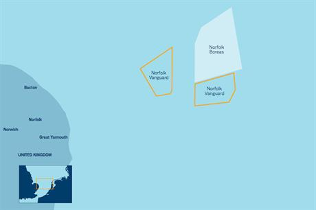 Vattenfall's Norfolk Vanguard and Norfolk Boreas are planned to be 47 and 73 kilometres from the shore respectively