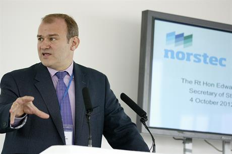 Energy minsiter Ed Davey at the launch of Norstec in 2012