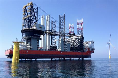 Swire Blue Ocean's Pacific Osprey loaded with foundations for the Hohe See and Albatros turbines