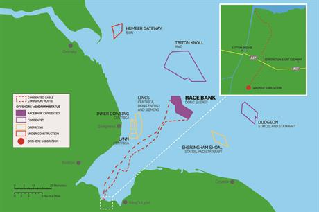 Race Bank is located off the east coast of England