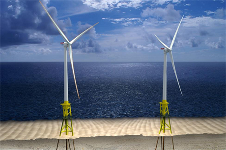 Artist's rendering of proposed 12 MW offshore wind facility