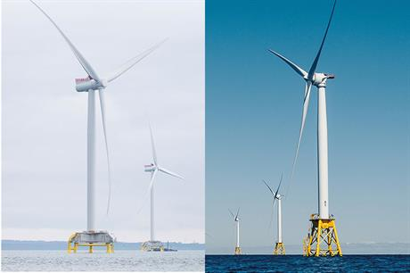Siemens Gamesa's 7MW turbine has similar dimensions to GE's 6MW Haliade, making it an easy swap at the French projects (pics: Siemens Gamesa | General Electric, Humza Deas)
