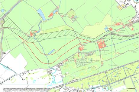 The new route (in red) avoids Balhungie Farm