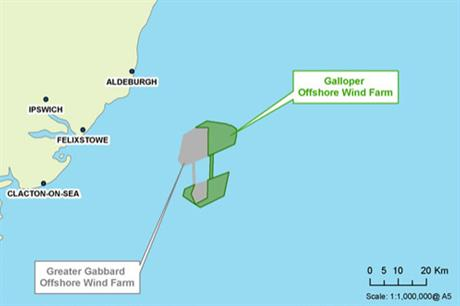 Galloper is located off the UK's east coast, beside the Greater Gabbard project