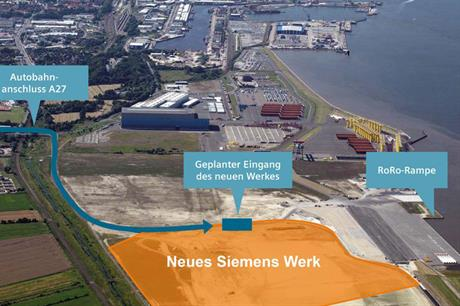 Siemens' new facility will be located on the banks of Cuxhaven Harbour