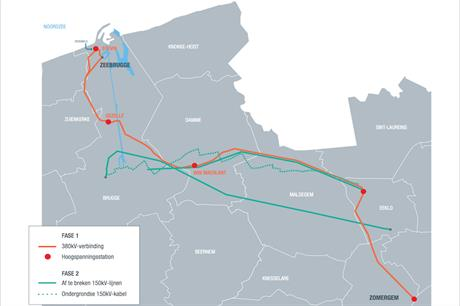 The Stevin Line spans 47 kilometres between Zeebrugge and Zomergem (pic credit: Elia)