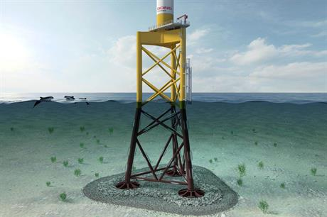 The jacket uses suction buckets to secure it to the seabed