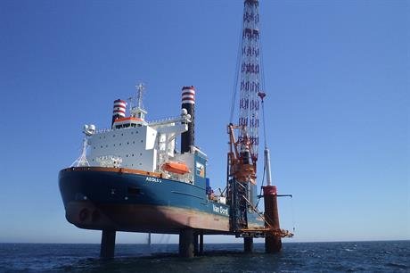 Van Oord's Aeolus vessel helped install the 150 monopiles at the 600MW Gemini project